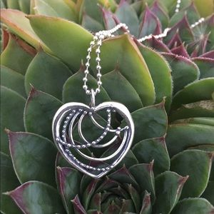 Filigree Heart In Sterling Silver with Ball Chain